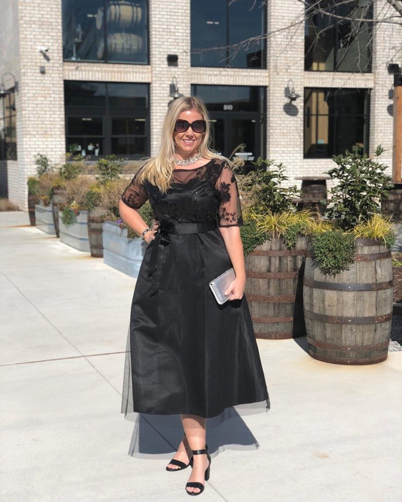 Three Quarter Sleeve Lace Panel High Waist Dress