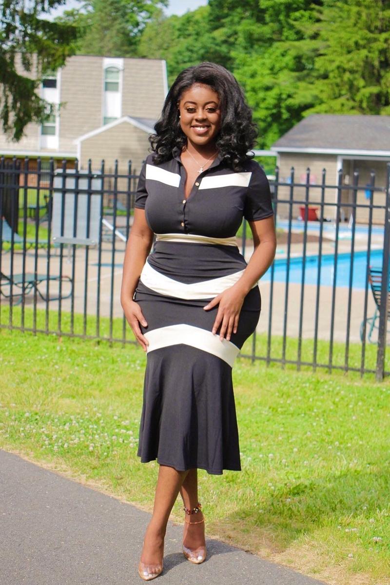 Turndown Collar Color Block Button Detail Dress