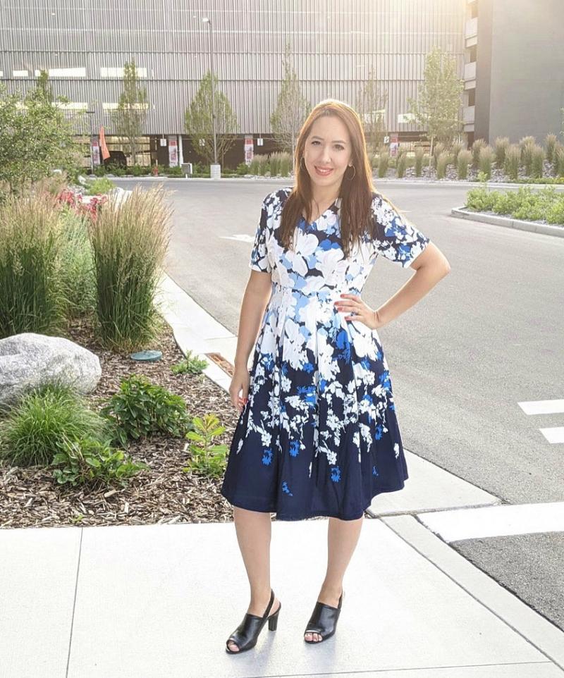 V Neck Short Sleeve Floral Print Dress