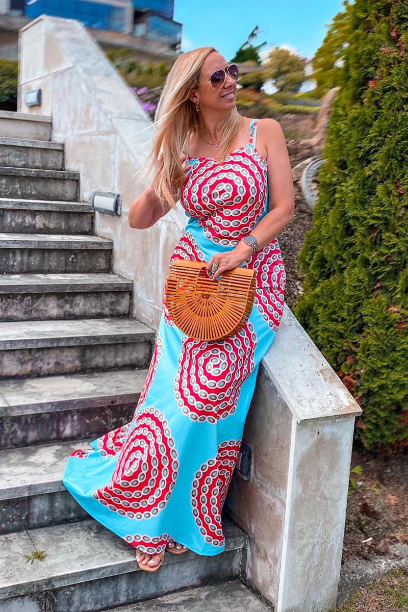 Red Spaghetti Strap Printed Maxi Dress