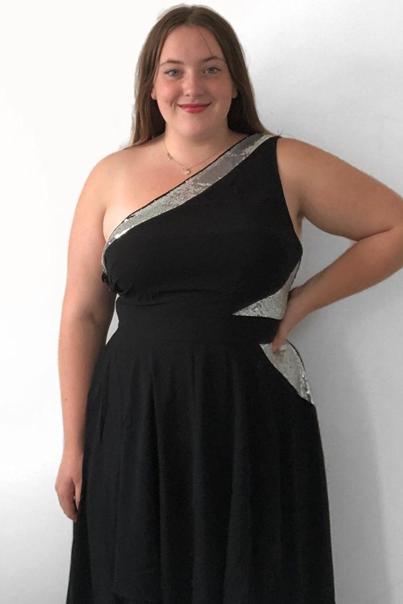 High Waist One Shoulder Asymmetric Hem Dress