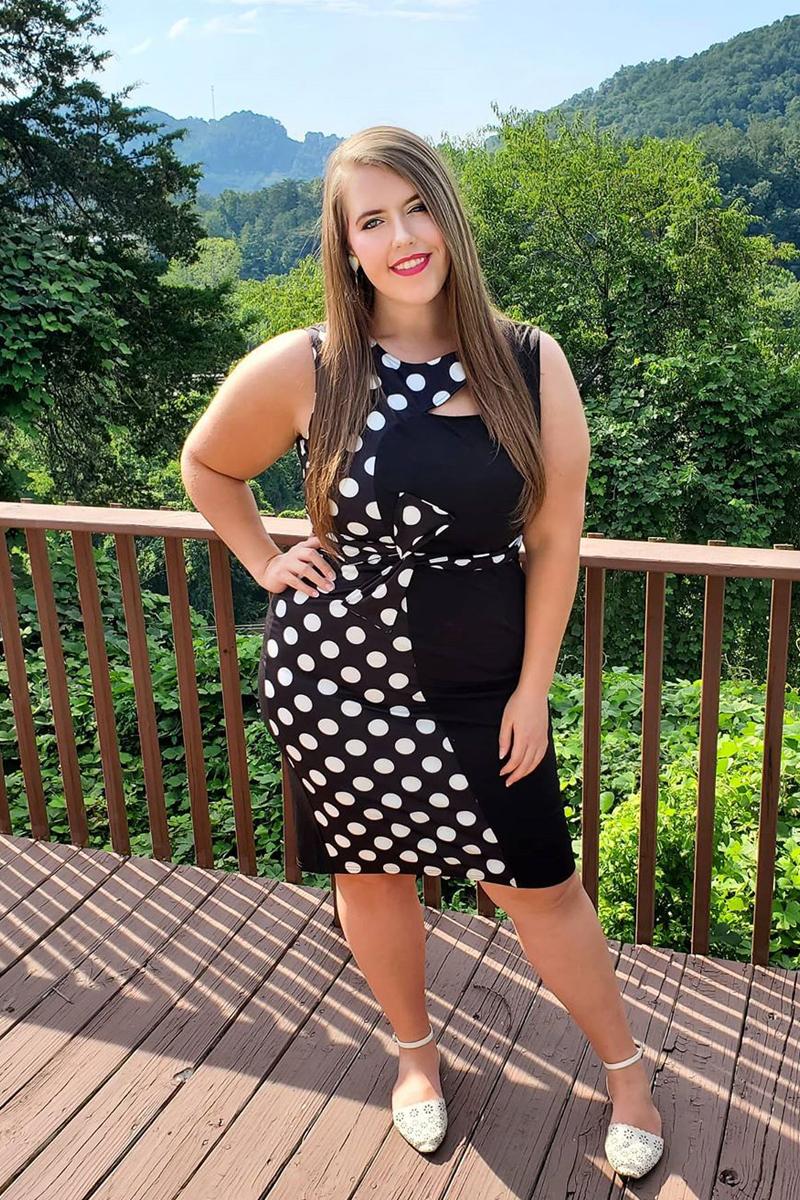 High Waist Black Polka Dot Print Dress