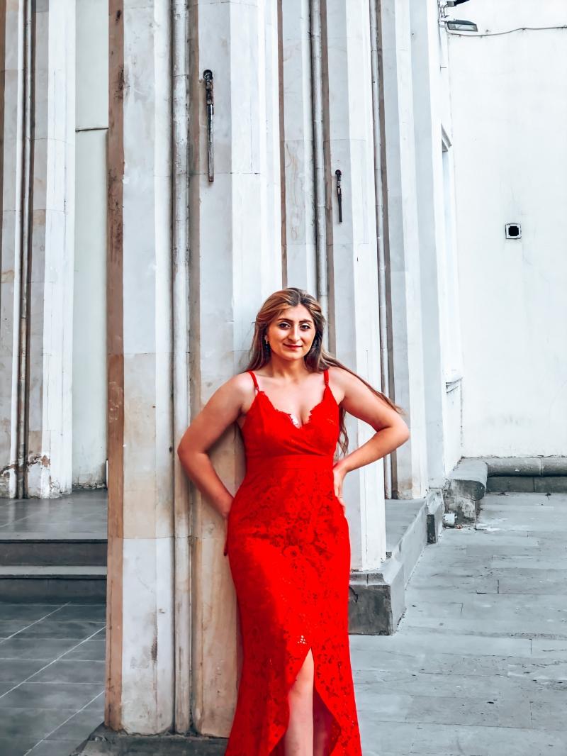 Red Lace Panel High Split Spaghetti Straps Dress