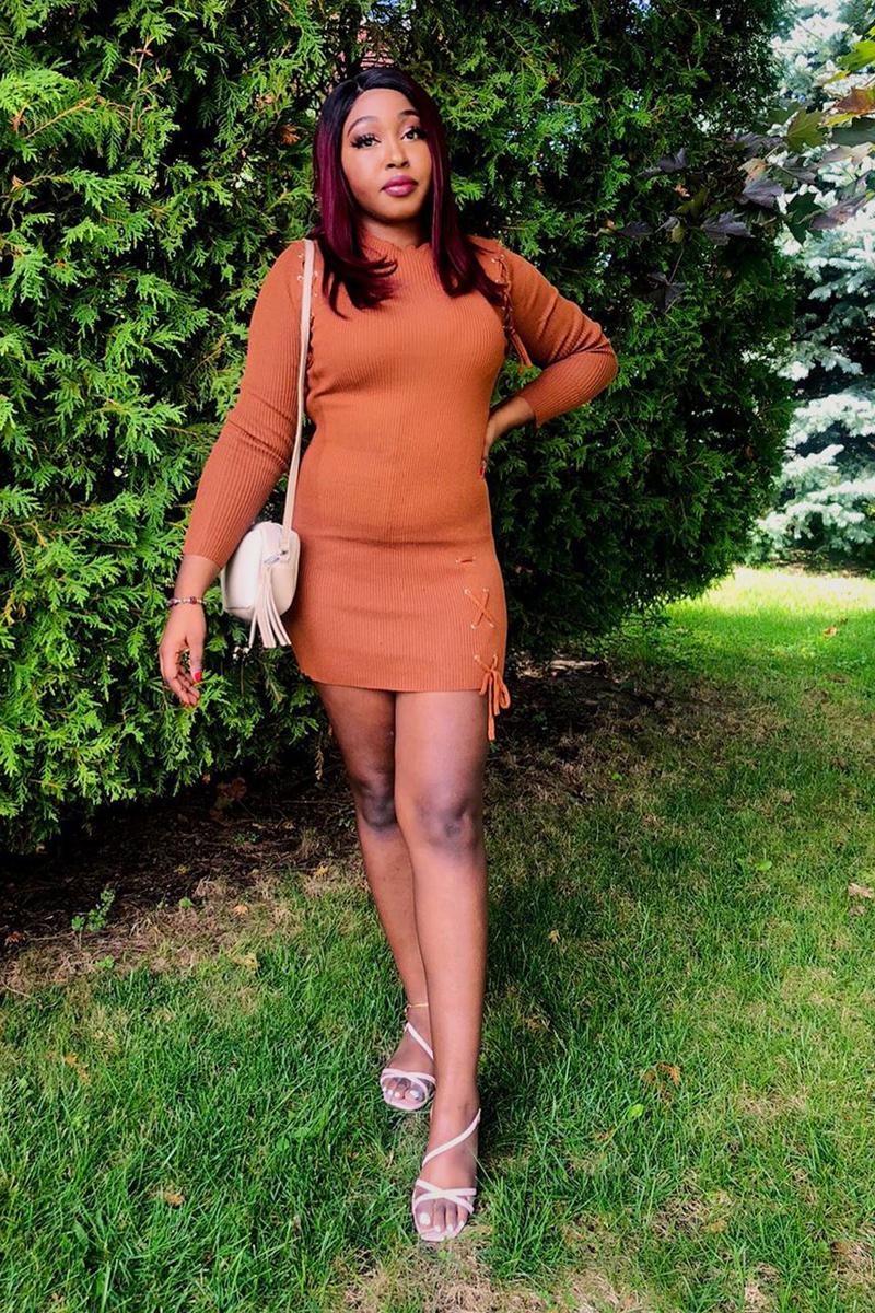 Long Sleeve Light Brown Round Neck Dress