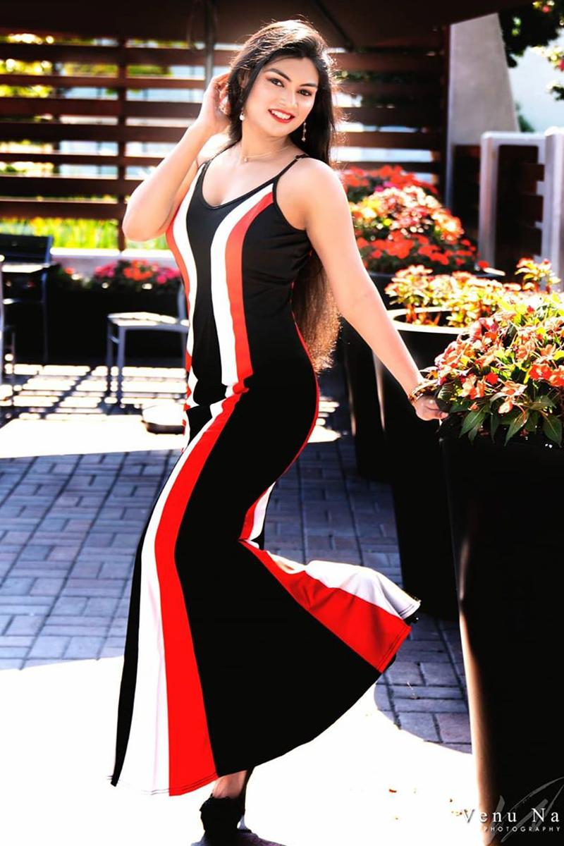 Printed Spaghetti Strap Color Block Maxi Dress