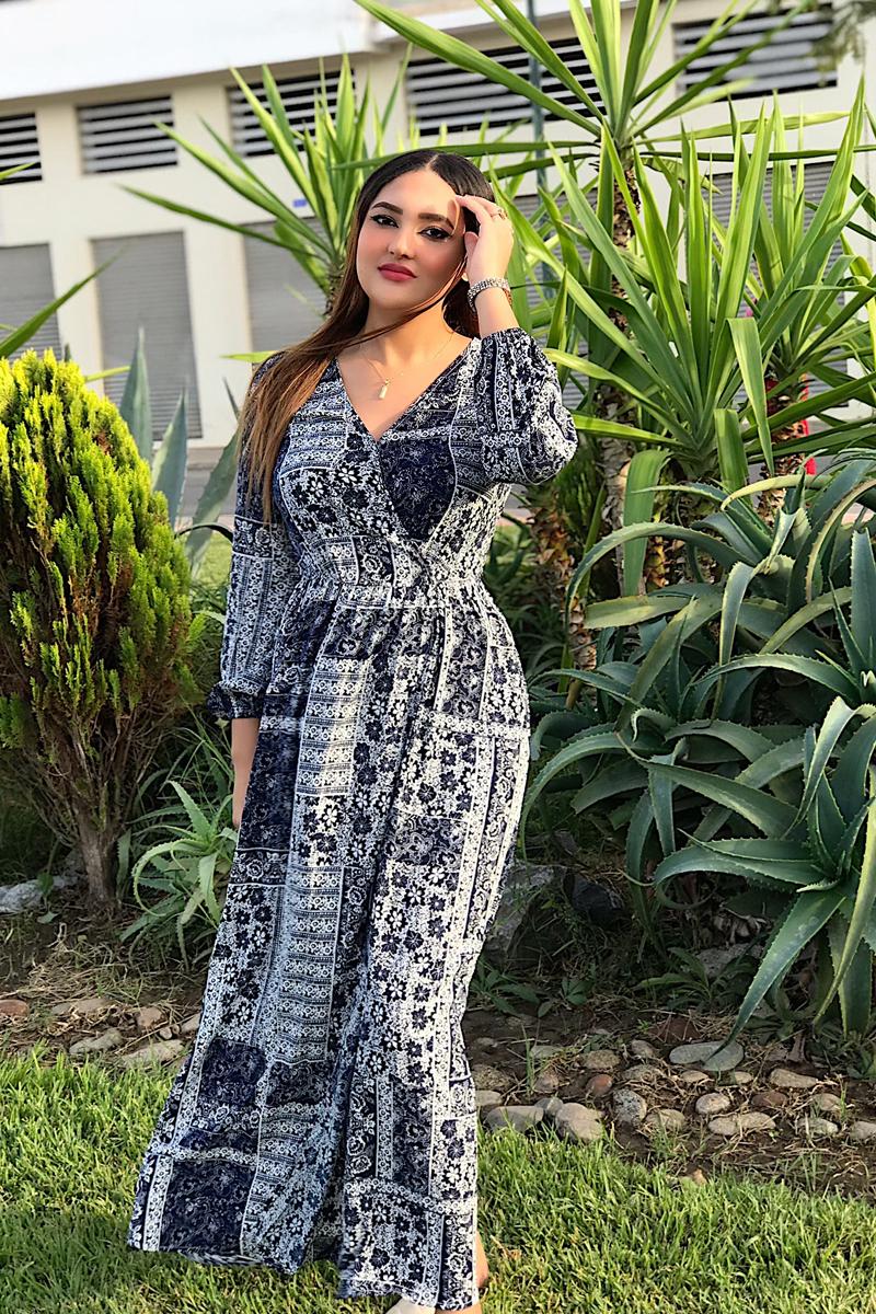Tribal Print Slit Hem Maxi Dress