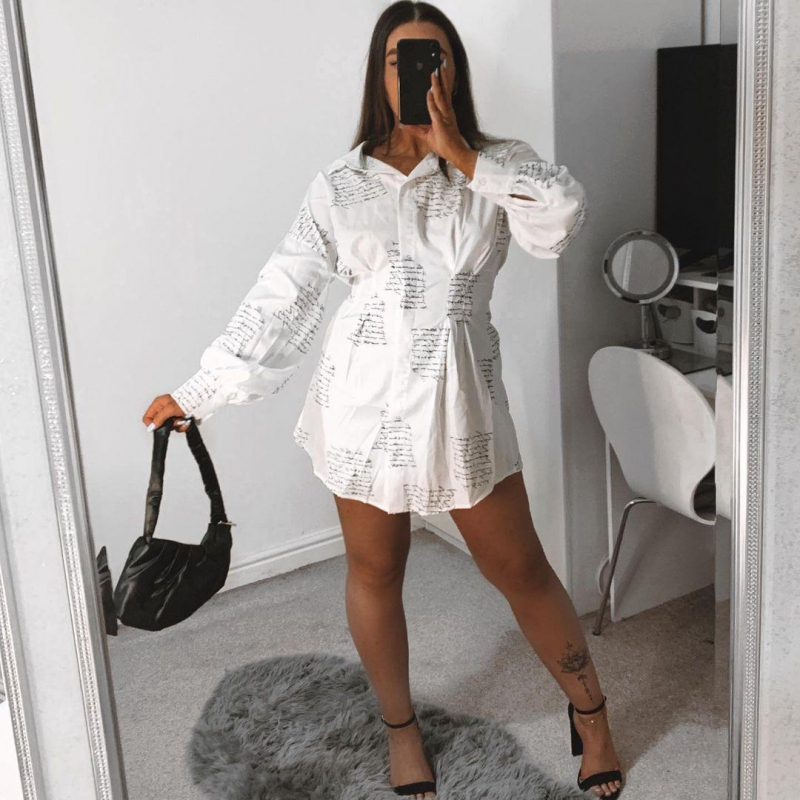 Button Up Turndown Collar Letter Print Shirt Dress