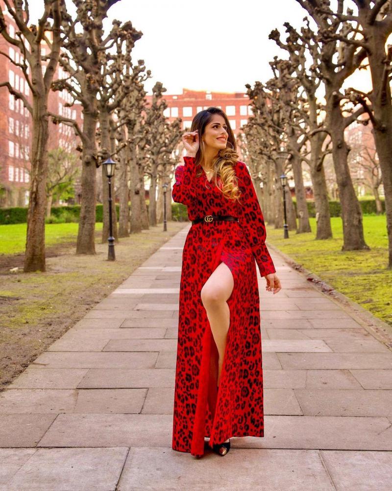 V Neck Leopard Side Slit Dress