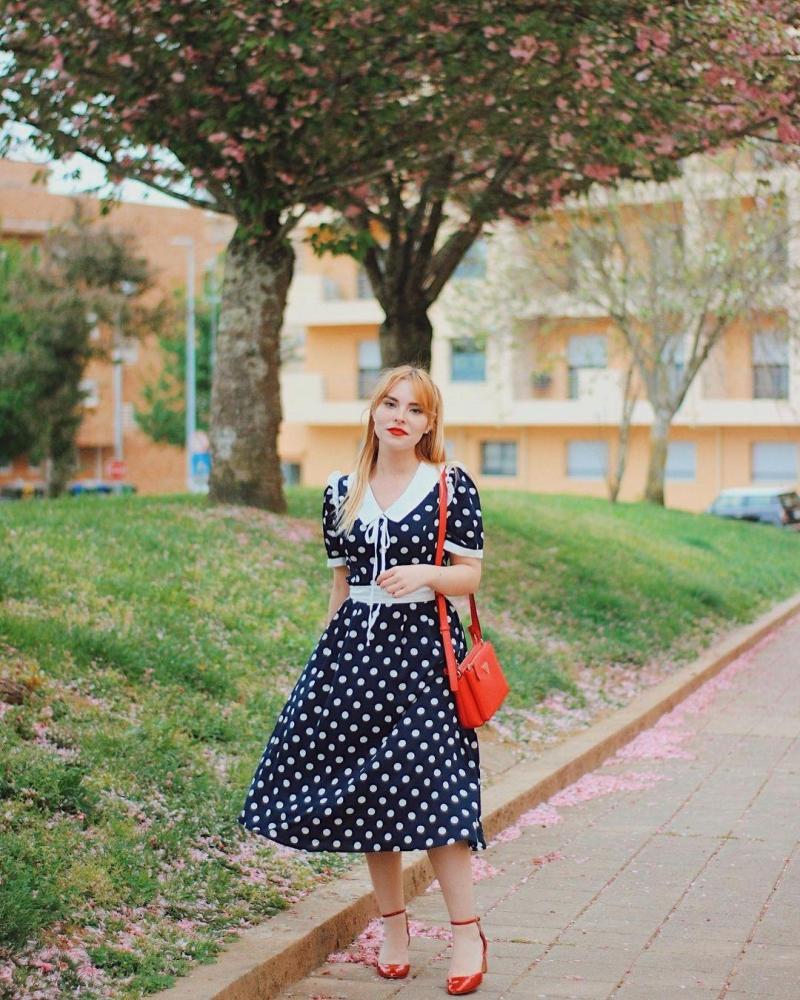 Flat Collar Short Sleeve Polka Dots Dress