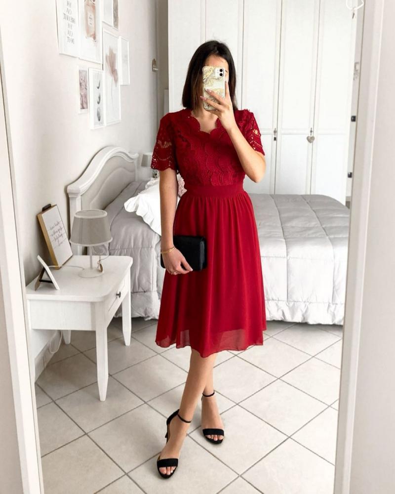 High Waist Lace Panel Short Sleeve Red Dress