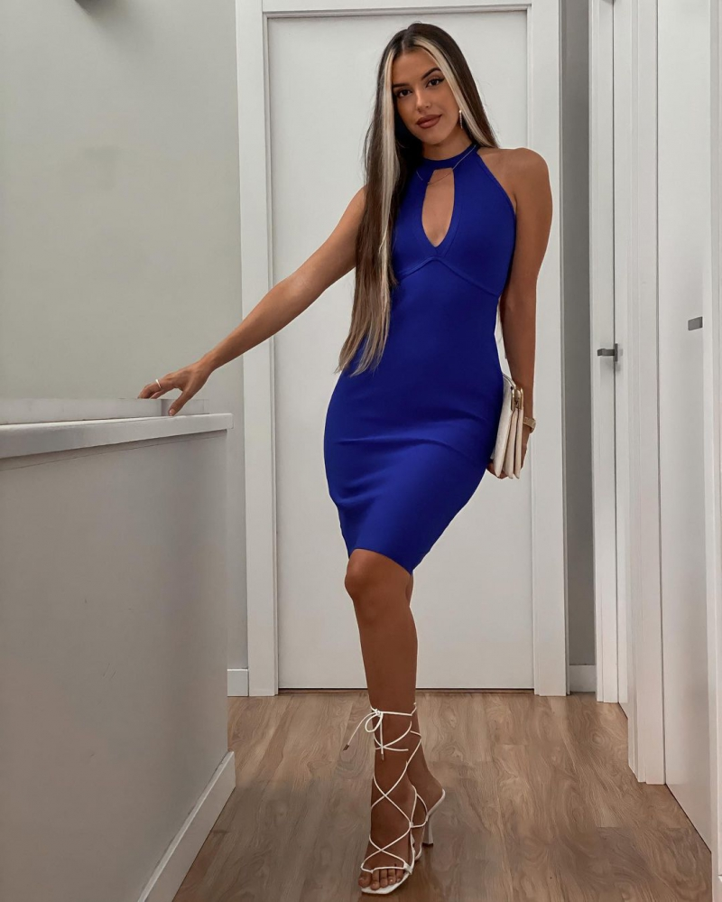 Sleeveless Cutout Front Strappy Back Bodycon Dress