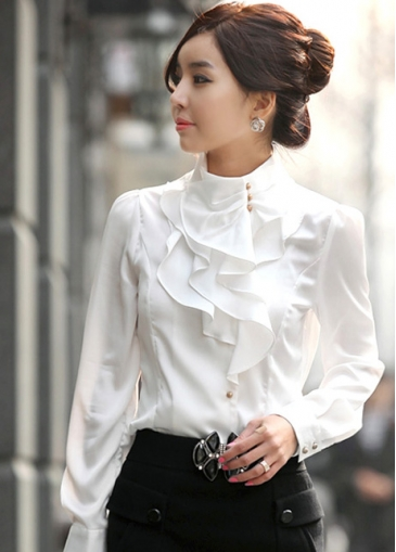 White Long Sleeve Ruffled Embellished Shirt