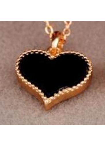 Laconic Black Heart Shape Edging Design Metal Necklace