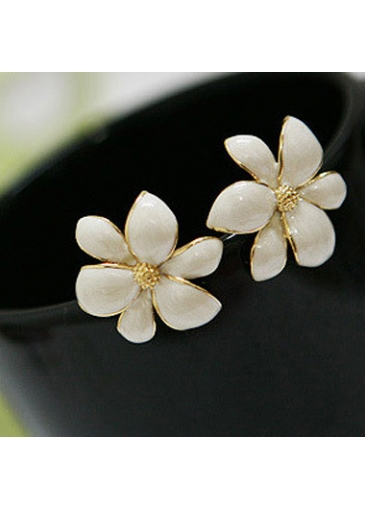 Charming White Flower Shape Metal Earrings for Woman
