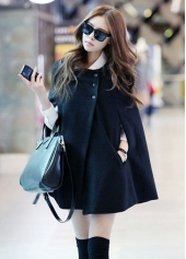 Button Closure Black Woolen Loose Pattern Coat