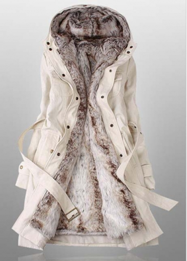 Beige Hooded Collar Long Sleeve Belted Coat
