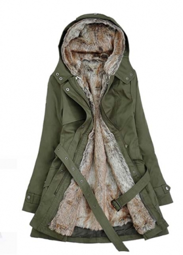 Long Sleeve Hairy Inside Belted Parka Coat