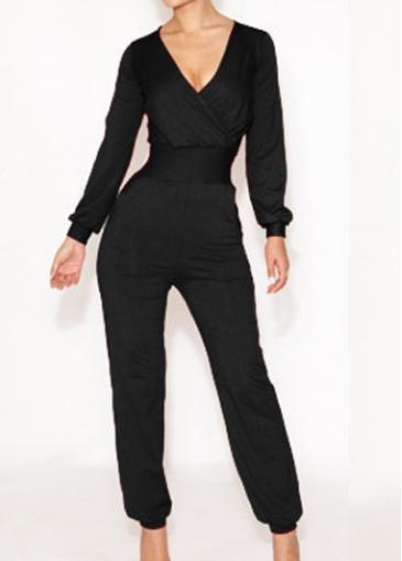 Long Sleeve V Neck Black Sheared Waist Jumpsuits