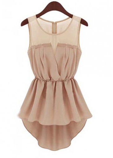 Sleeveless Ruffled Asymmetric Peplum Chiffon Blouse