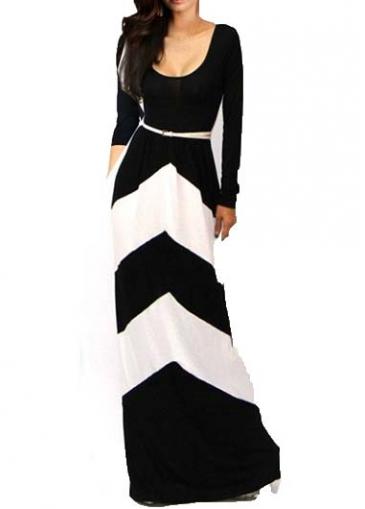 Round Neck Black and White Maxi Dress