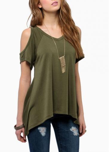 Cutout Shoulder Green V Neck T Shirt