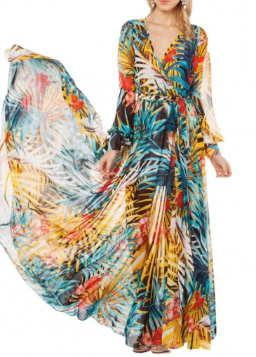Chiffon Lantern Sleeve V Neck Printed Maxi Dress