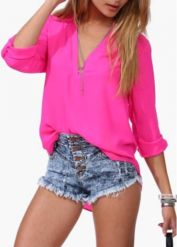 Rose V Neck Long Sleeve Curved Chiffon Blouse