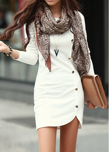 Long Sleeve White Button Decorated Sheath Dress