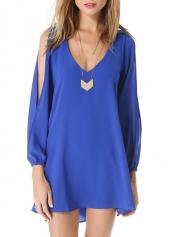 Blue Slit Sleeve V Neck Chiffon Straight Dress