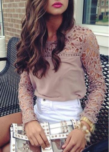 Crochet Lace Splicing Long Sleeve Chiffon Blouse