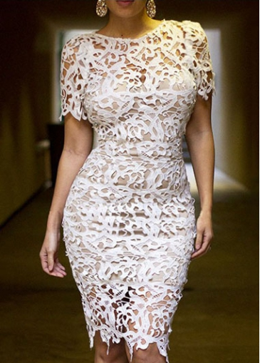 Lace Short Sleeve White Pierced Sheath Dress