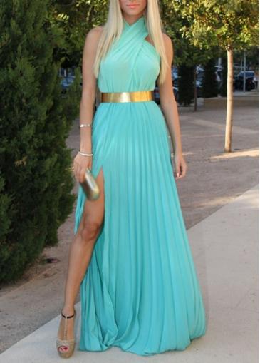 Cross Neck Side Slit Blue Chiffon Maxi Dress