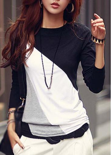 Spliced Color Block Long Sleeve T Shirt