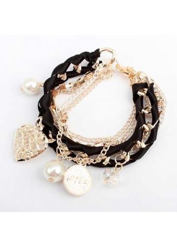 Laconic Faux Pearl Decorated Color Block Woman Bracelet