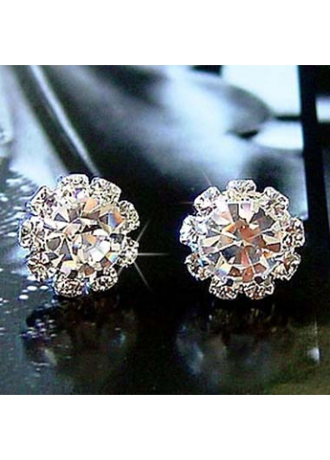 Hot Sale Sunflower Shape Rhinestone Decorated Woman Ear Stud
