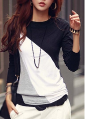 Spliced Color Block Long Sleeve T Shirt