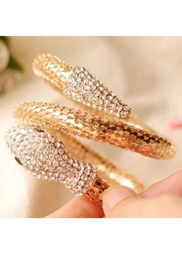 Trendy Rhinestone Decorated Snake Shape Golden Metal Bangle