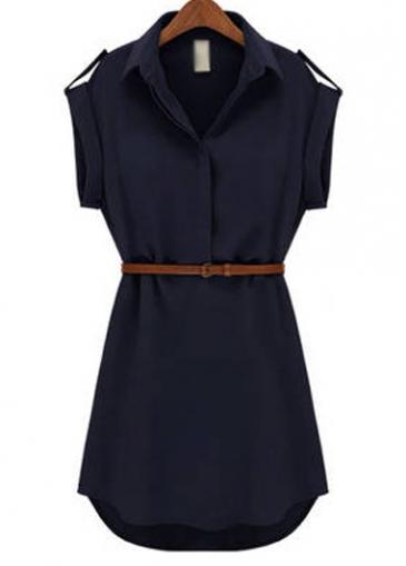 Chiffon Turndown Collar Navy Blue Chiffon Shirt Dress