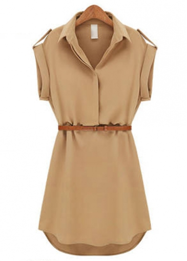 Turndown Collar Khaki Chiffon Mini Dress