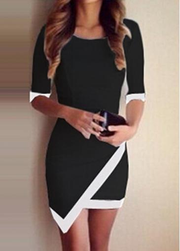 Asymmetric White Edging Black Sheath Dress
