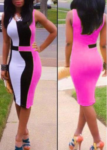 Round Neck Color Block Sleeveless Bodycon Dress
