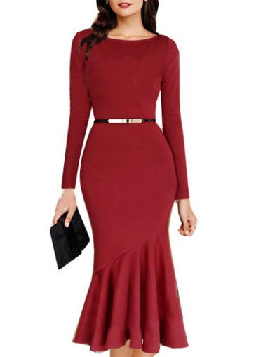 Long Sleeve Round Neck Red Mid Calf Dress