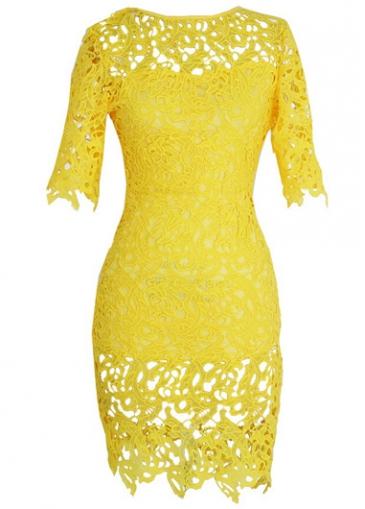 Short Sleeve Yellow Lace Crochet Sheath Dress