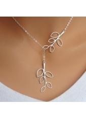 Leaf Shape Silver Metal Pendant Necklace