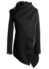 Turndown Collar Long Sleeve Black Coat