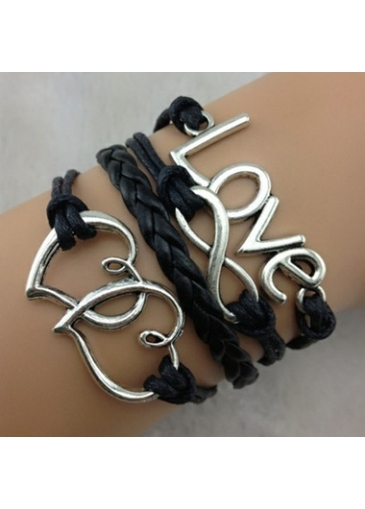 Metal Heart Decorated Black Braided Bracelet