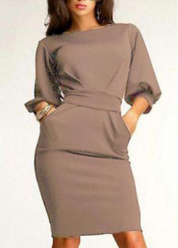 Lantern Sleeve Zip Closure Belted Sheath Dress