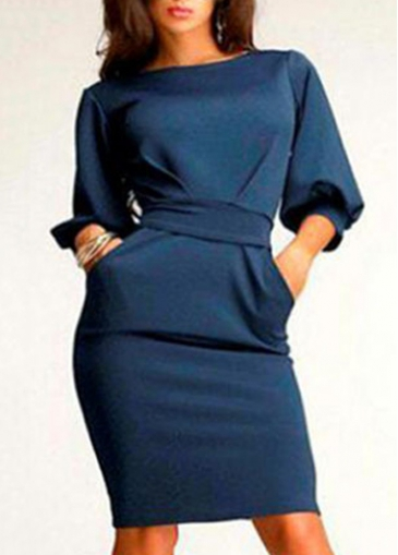 Lantern Sleeve Navy Blue Pocket Design Dress