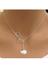 Bird Pendant Silver Sterling Leaves Lariat Necklace