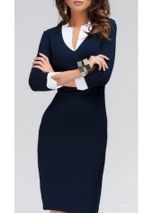 OL Style V Neck Navy Blue Pencil Dress